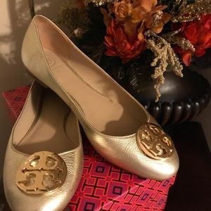 Brand new in box Claire Ballet gold metallic flat